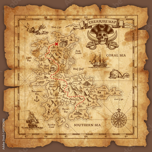 Fotografie, Obraz  Vector Pirate Treasure Map