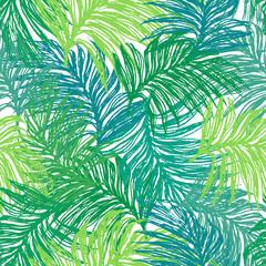 Fototapeta Ink hand drawn jungle leaves seamless pattern
