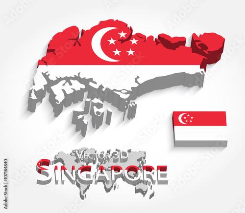 Photo  Singapore 3D ( Republic of Singapore ) ( map and flag ) ( transportation and tou