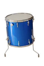 Floor Tom-Tom Drum Blue Color Isolated On White Background