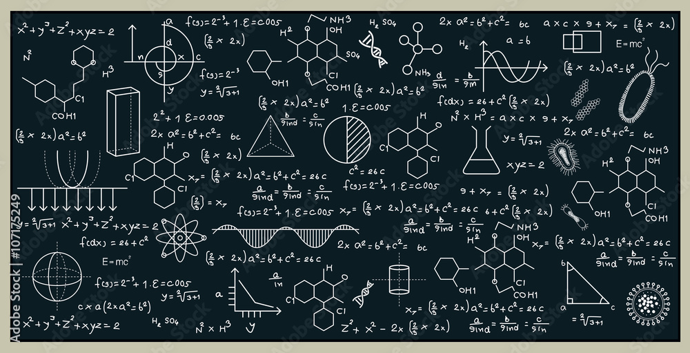 Fototapety, obrazy: Blackboard with math and science by writing on the blackboard.