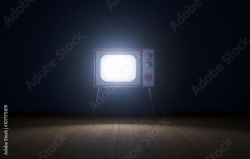Fototapeta Empty dark room with tv obraz