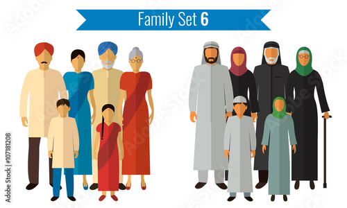 Fototapeta Family icons set. Traditional culture, national family. Vector obraz na płótnie