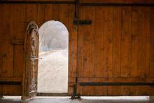 Open Wooden Door Of Outside Wa...