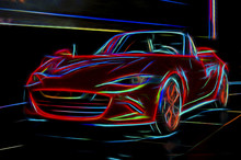 Psychedelic Sports Car Line Art