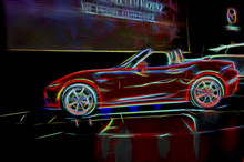 Neon Line Art Of A Red Sports Car