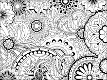 Image With Mandalas And Doodle Tangle Elements