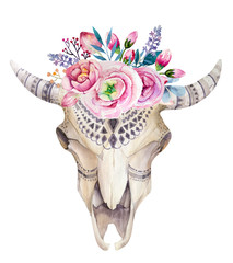 Panel Szklany Boho Watercolor cow skull with flowers and feathers decoration. Boho