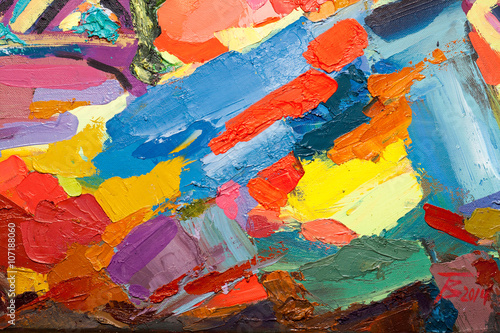 Fototapety, obrazy: Abstract art  background. Oil painting on canvas. Colour texture