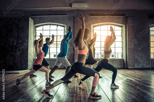 Foto auf AluDibond Fitness Workout in a fitness gym