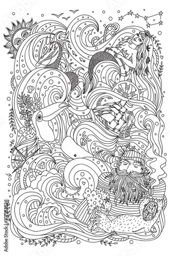 Monochrome Ornament For Adult Coloring Book Sea Theme Old Sailor