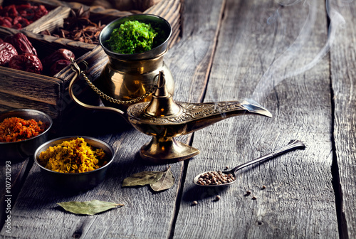 Photo  Aladdin Lamp and spices
