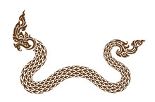 Naka Illustration. Imaginary Creature. Long And Tail Snake.