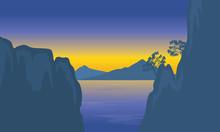 Illustration Of Cliff In Sea