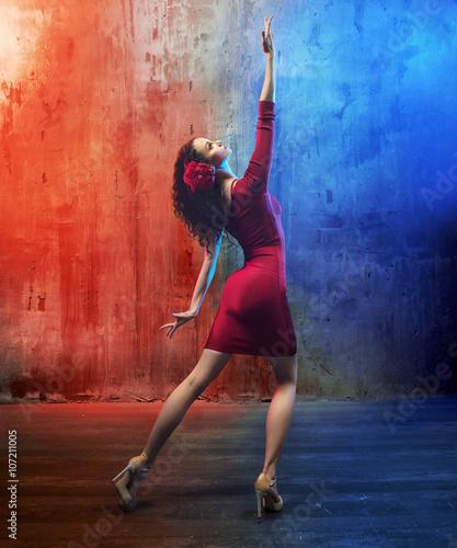 Obraz na plátně  Attractive brunette beauty in a dance pose
