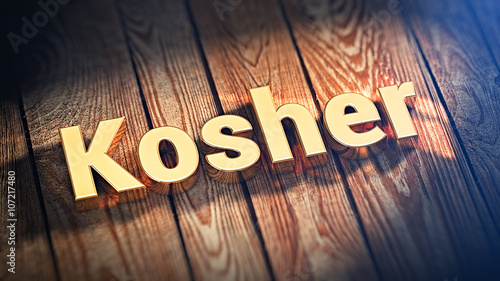 Word Kosher on wood planks Canvas-taulu