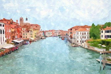 Fototapeta Wenecja Abstract watercolor digital generated painting of the main water canal in Venice.