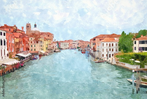 Abstract watercolor digital generated painting of the main water canal in Venice. - 107219036