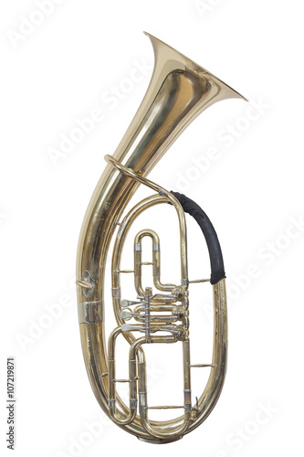 Photo classical wind musical instrument baritone Euphonium isolated on white backgroun
