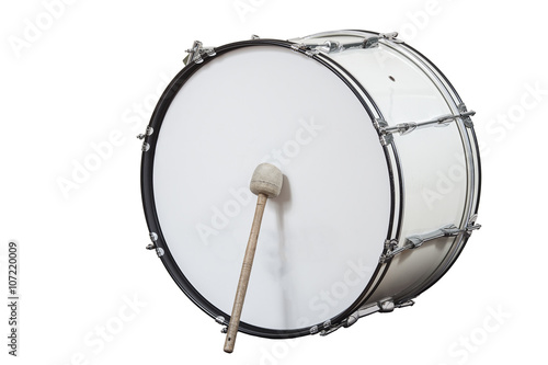 Fotografía  classic musical instrument big drum isolated on white background