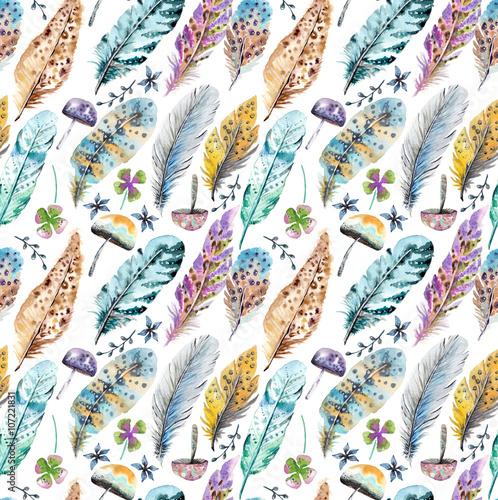 recznie-rysowane-kolorowe-akwarele-piora-i-grzyby-tlo