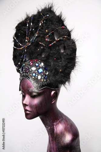 Painted mannequin girl with ethnic headwear - Buy this stock photo ... 20e904e635e