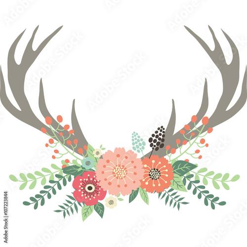 Deer Antlers with Flowers Wall mural