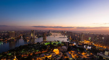Panorama Of Night Cairo From The Top Of The Cairo TV Tower At Sunset