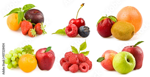 Keuken foto achterwand Vruchten mixed tasty fruit composition set isolated on white