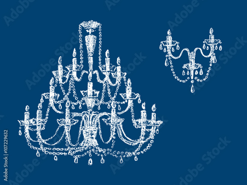 Fotomural chandelier silhouettes