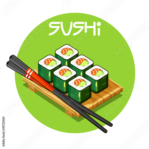 Wooden tray with Sushi vector-Japanese food - Buy this stock vector