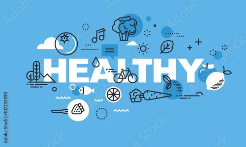 Modern thin line design concept for HEALTHY website banner