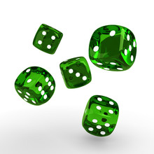 Game Green Dices Rolling On Wh...