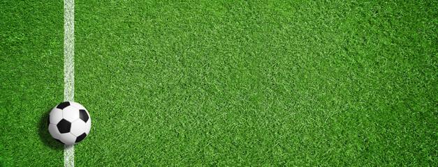 fototapeta piłka nożna na zielonej trawie z linią