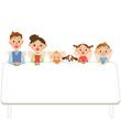 テーブルに座る家族