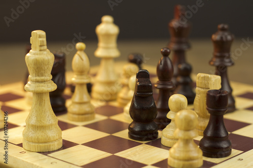 Photo  Chess board with game in play