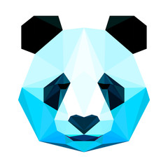 Fototapeta Abstract polygonal blue panda portrait