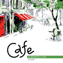 European Cafe, Graphic Drawing In Color