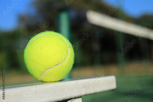 Tennis ball with net background Tableau sur Toile