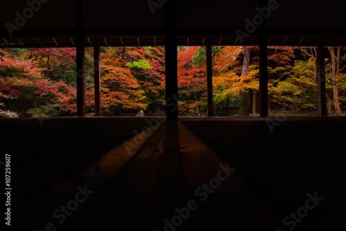 Papiers peints Kyoto 和室の奥に広がる紅葉