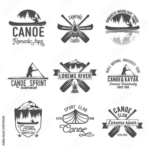 Slika na platnu Set of vintage canoeing  logo