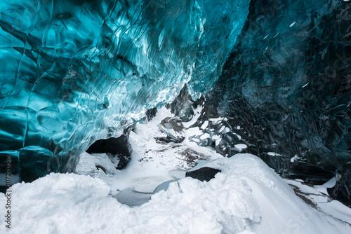 Poster Glaciers Blue crystal clear ice inside the ice cave, Vatnajokull glacier, Iceland