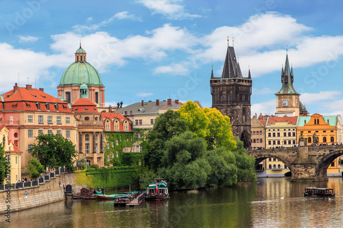 Photo sur Aluminium Prague PRAGUE, CZECH REPUBLIC. View of the Vltava river , buildings and The Charles Bridge