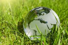 Weltkugel Aus Glas, Erde Mit G...
