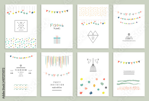 Fotografia  Collection of hand drawn party cards and invitations.