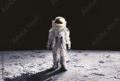 Fotografie, Obraz  Astronaut walking on the moon