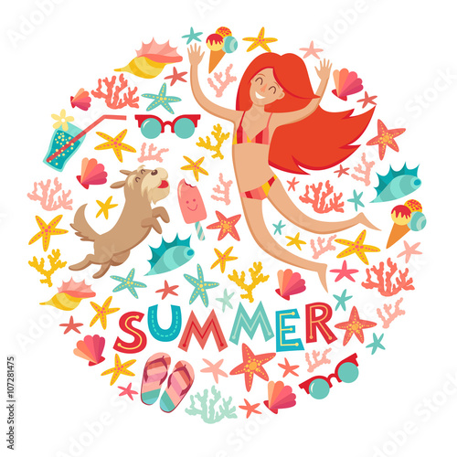 Fototapety, obrazy: Summertime card. Circle cartoon design .with summer icons, girl with a dog and text. Isolated vector illustration on white background