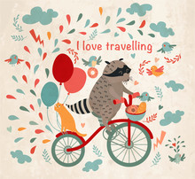 Cute Raccoon On A Bicycle With A Cat, Birds, Balloons And Drops. 'i Love Travel' Text. Trip, Journey. Vector Illustration