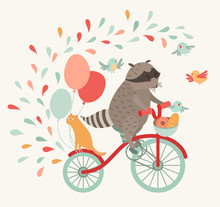 Cute Raccoon On A Bicycle With...