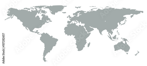 Photo  Grey silhouette world map